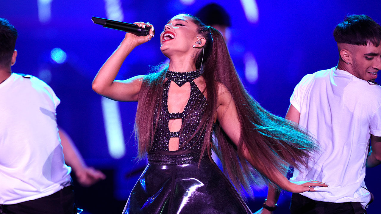 Ariana Grande performs at Wango Tango at Banc of California Stadium on Saturday, June 2, 2018, in Los Angeles.