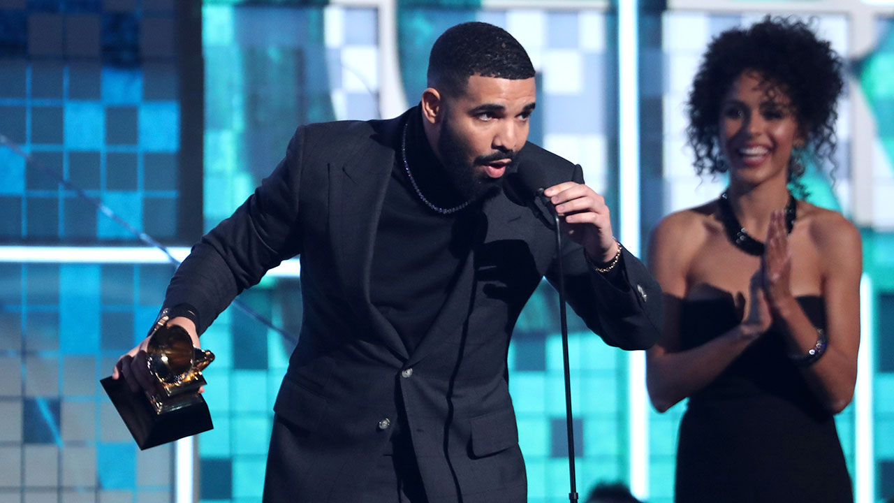 Drake accepts the award for best rap song for Gods Plan at the 61st annual Grammy Awards on Sunday, Feb. 10, 2019, in Los Angeles.