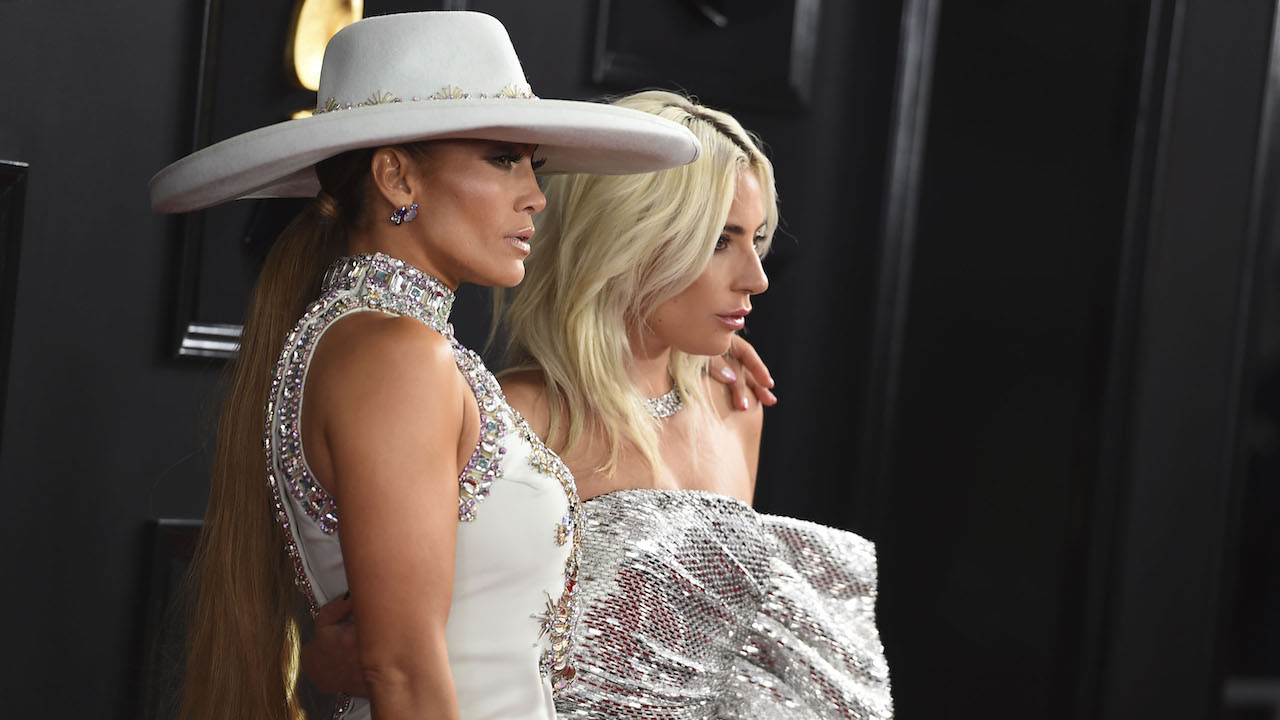 Jennifer Lopez, left, and Lady Gaga arrive at the 61st annual Grammy Awards at the Staples Center on Sunday, Feb. 10, 2019, in Los Angeles.