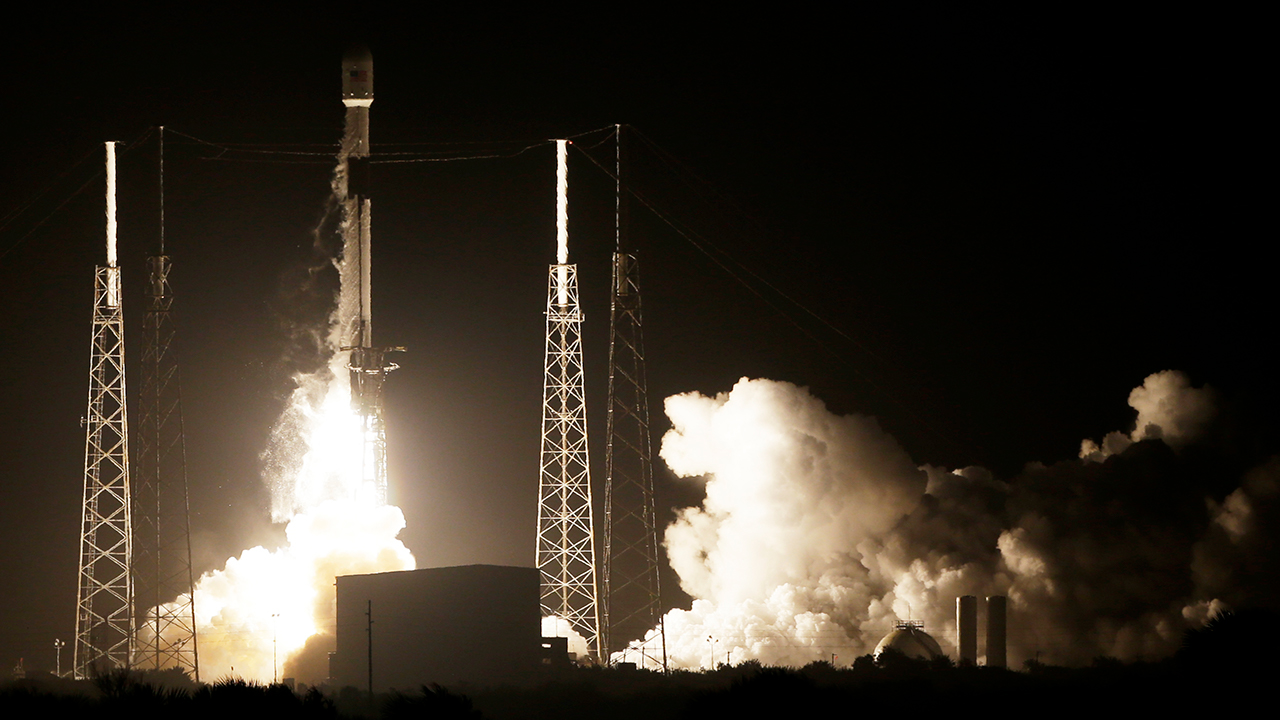 A SpaceX Falcon 9 rocket lifts off with Israels Lunar Lander and an Indonesian communications satellite at space launch complex 40, in Cape Canaveral, Fla.