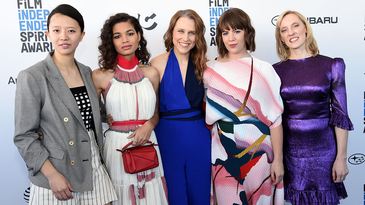 Elizabeth Rao, from left, Helena Howard, Josephine Decker, Ashley Connor, and Krista Parris arrive at the 34th Film Independent Spirit Awards on Saturday, Feb. 23, 2019.