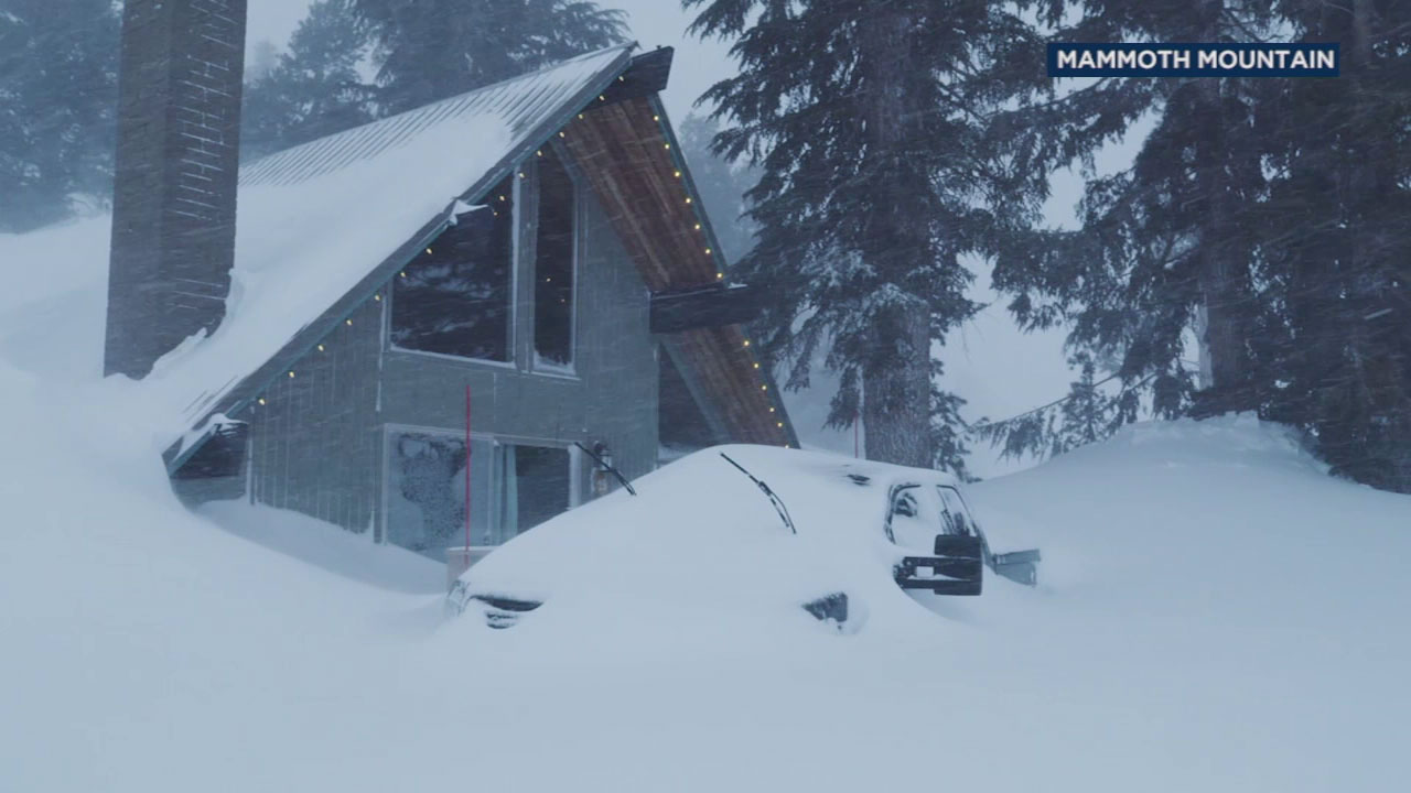 A file photo shows intense snowfall in Mammoth Mountain.