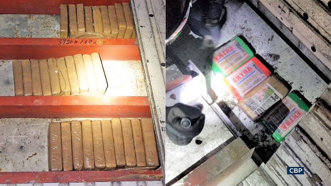 Federal agents seized more than 220 pounds of cocaine hidden in cargo ships that arrived in SoCal from Ecuador and Guatemala last month.