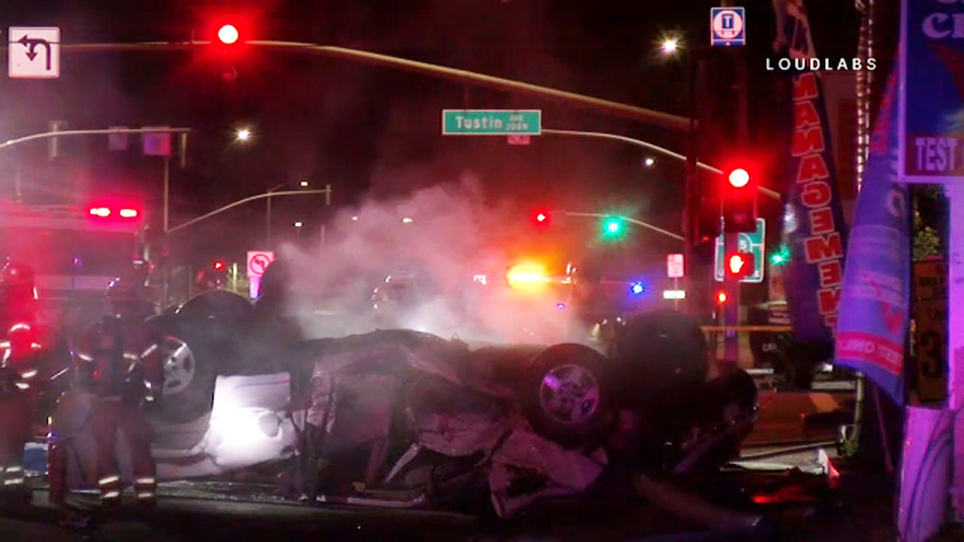 Four people were killed in a violent two-vehicle crash in Santa Ana early Sunday, Feb. 17, 2019.