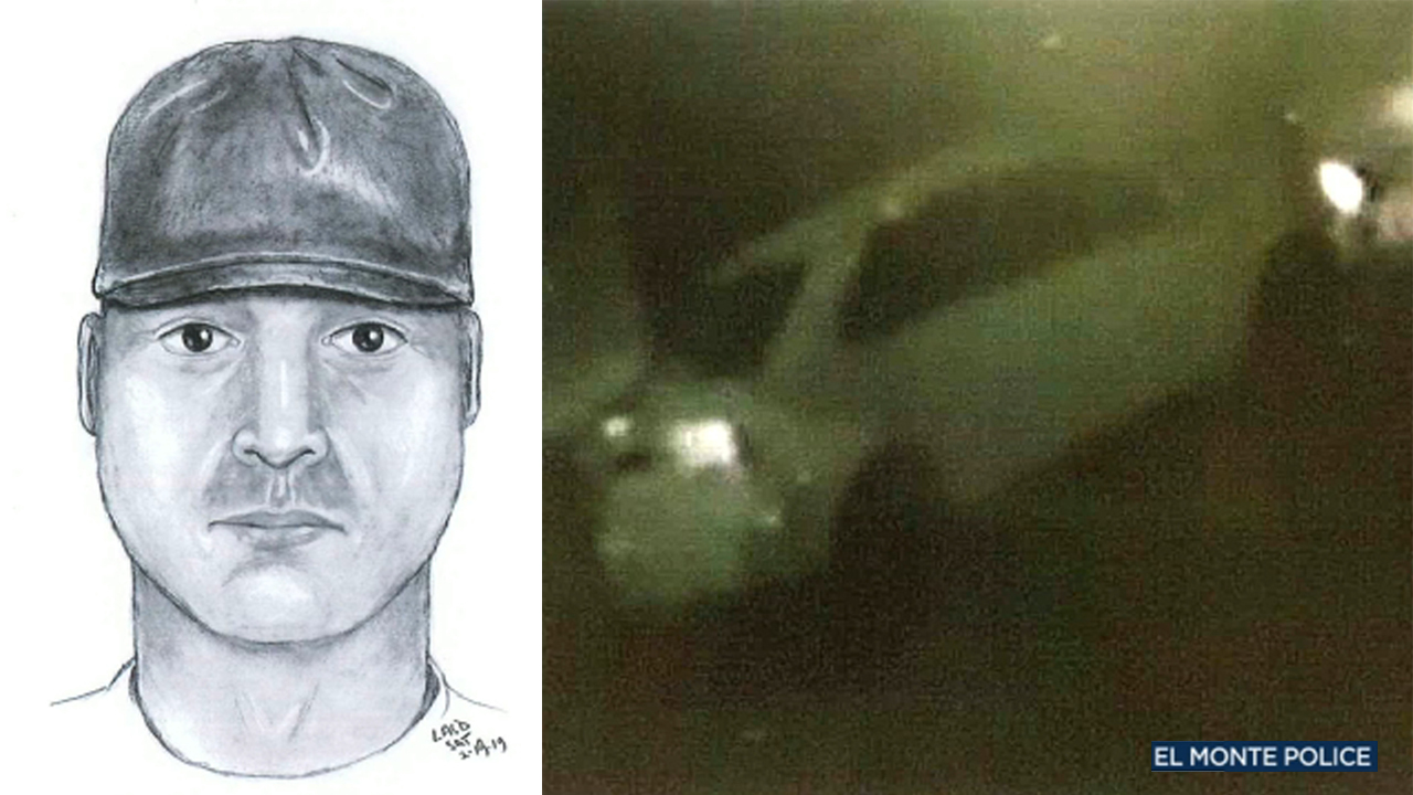 A split image shows a suspect sketch and suspect vehicle in connection to an attempted rape and kidnapping in El Monte on Saturday, Feb. 17, 2019.