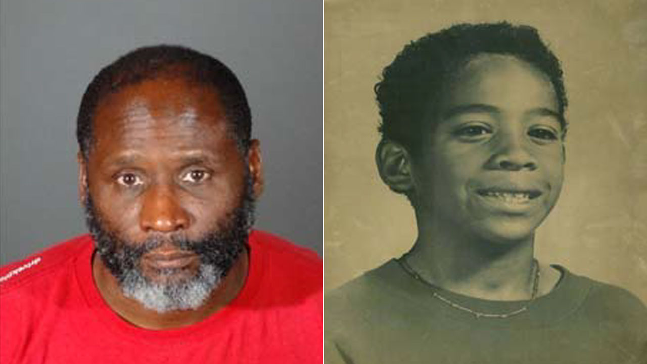 A mugshot of murder suspect Edward Donell Thomas, 50, of Pomona, is shown alongside an image of William Tillett, 11, who was murdered in 1990.