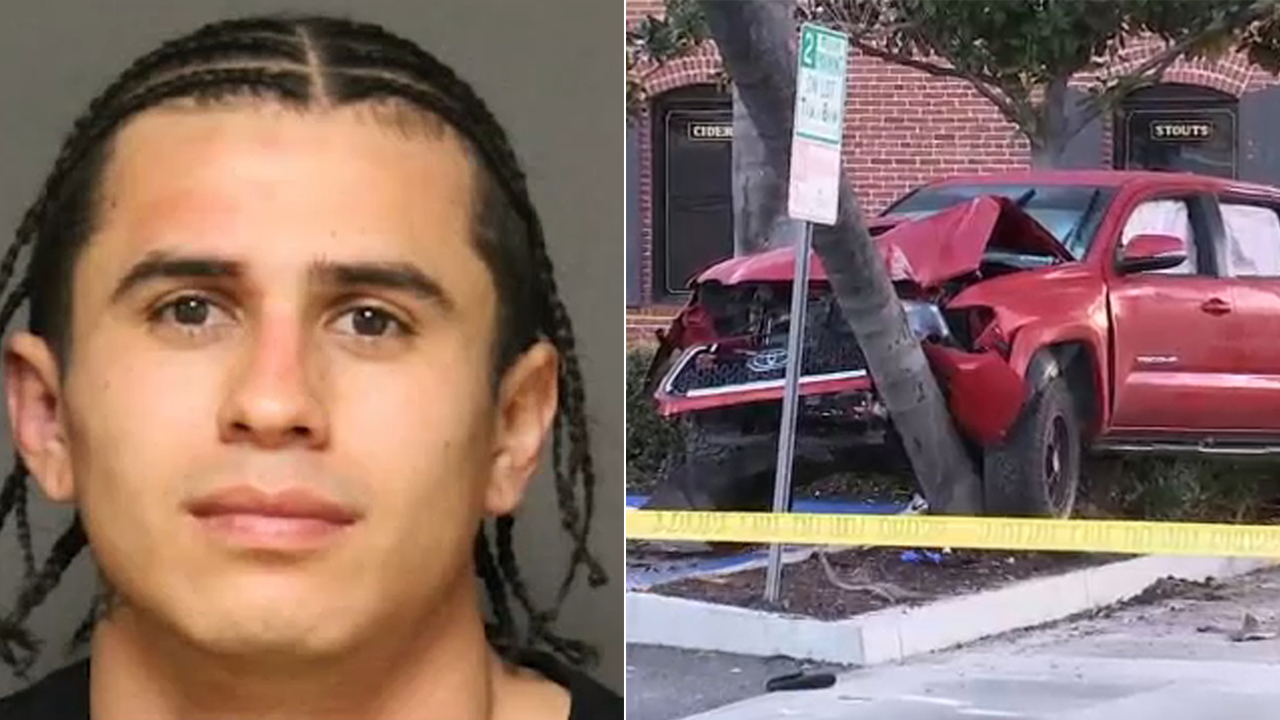 A split image shows alleged DUI suspect 22-year-old Christopher Solis of Anaheim, accused of plowing into a crowd of people in downtown Fullerton, injuring 10.