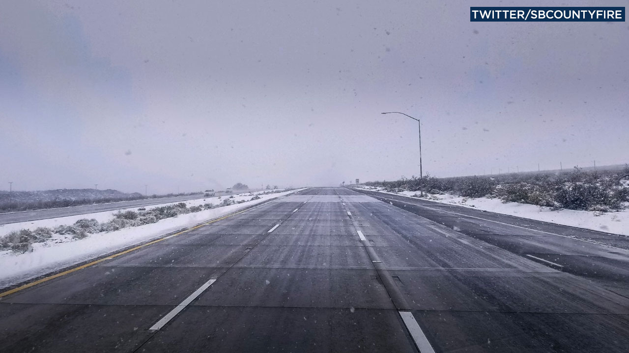 San Bernardino County Fire tweeted out images of the shuttered 15 Freeway that was blanketed with snow on Thursday, Feb. 20, 2019.