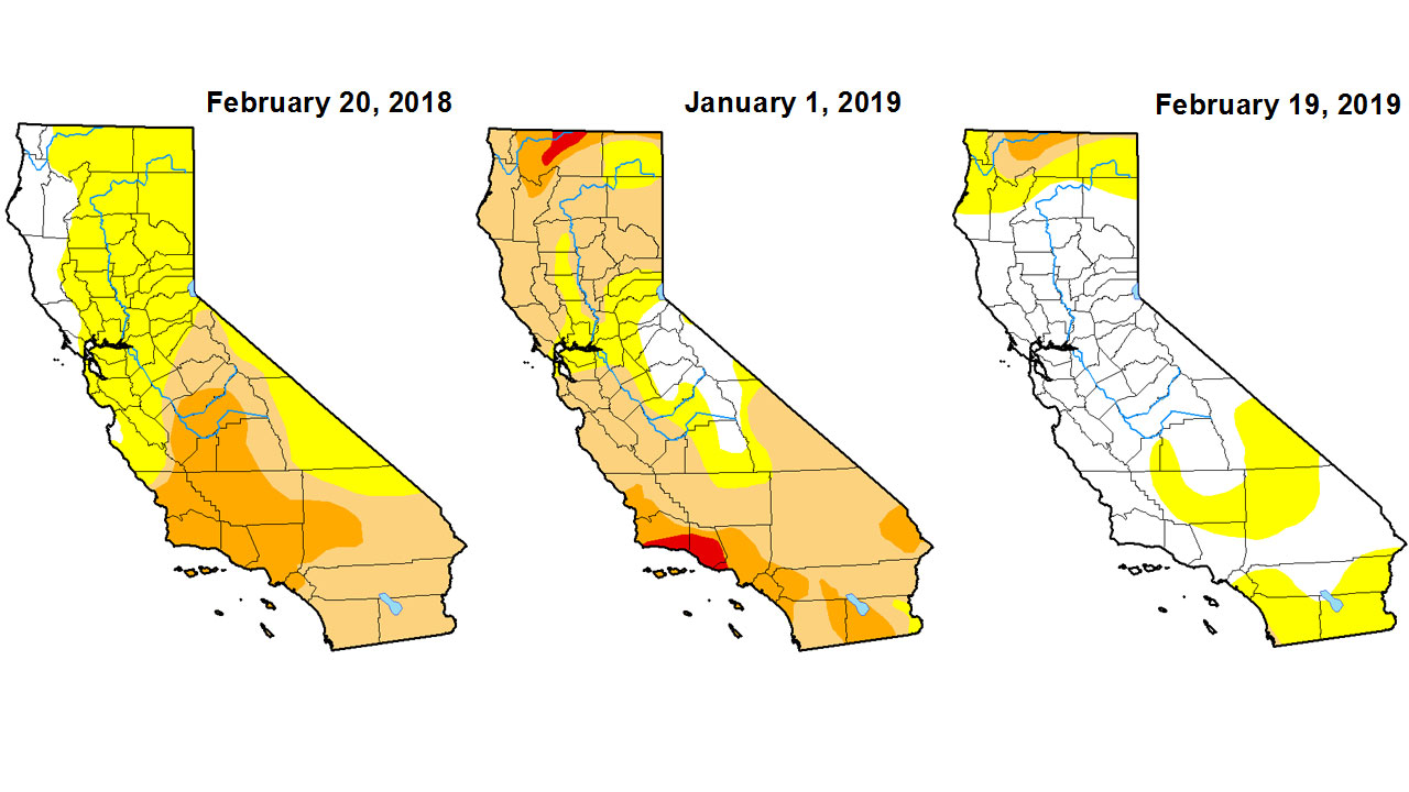 Images from the U.S. Drought Monitor show drought conditions on Feb. 20, 2018, Jan. 1, 2019, and Feb. 19, 2019.