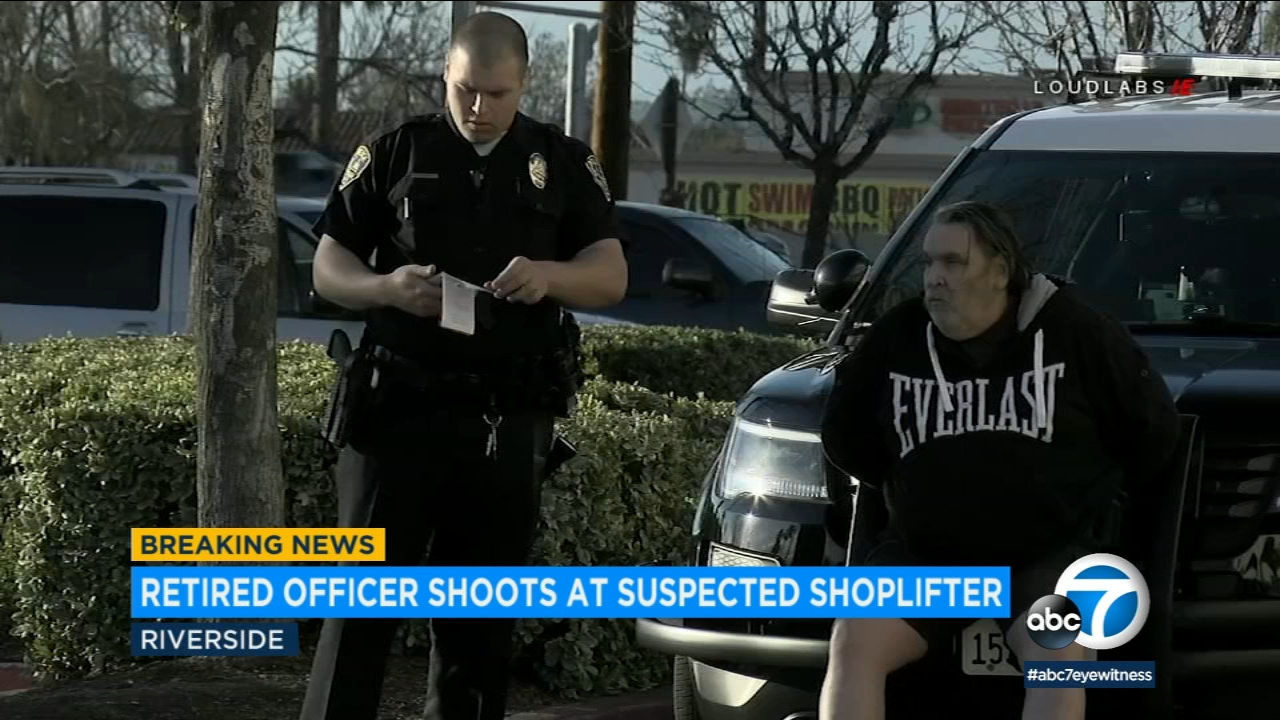 A retired police officer was arrested and charged after opening fire on a shoplifting suspect in Riverside.