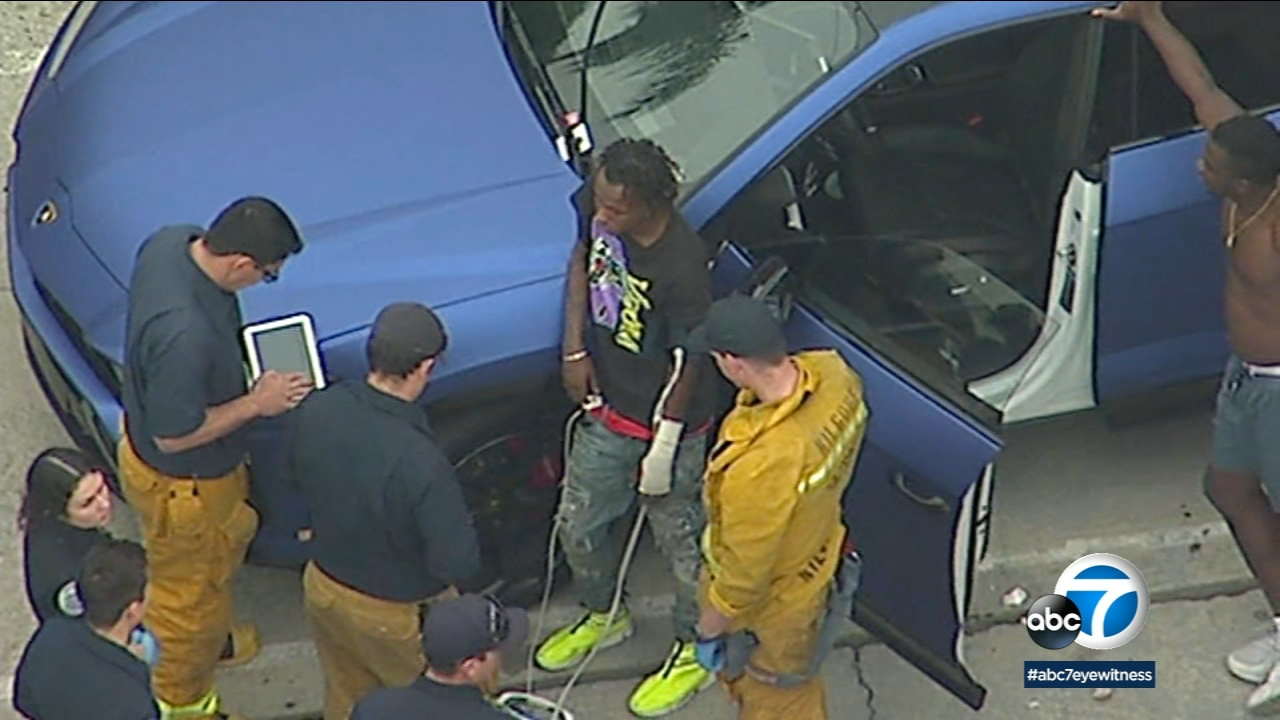 Rapper Rich the Kid is shown in AIR7 HD footage not long after becoming a victim of a robbery, assault and shooting in West Hollywood.