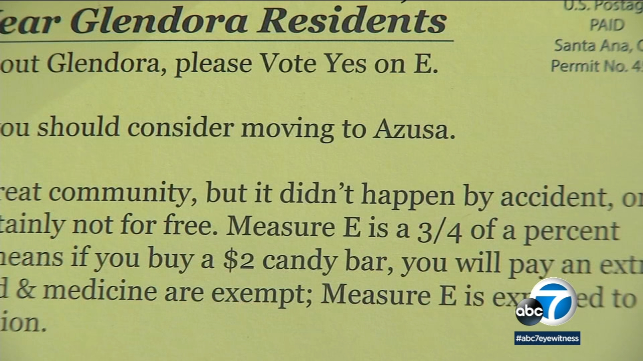 A Glendora political campaign flyer seems to takes a swipe at neighboring Azusa, starting a minor feud between residents of the two cities.