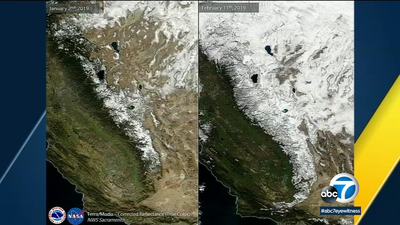 NASA captures recent snowpack impact on California from space