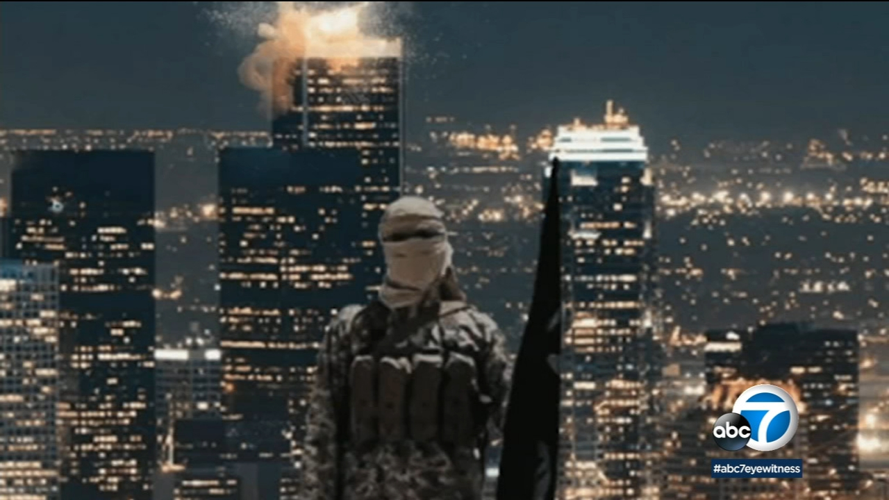 A terrorist group posted a disturbing photoshopped image showing an explosion at a downtown LA skyscraper, although officials say they are not aware of any credible threat.