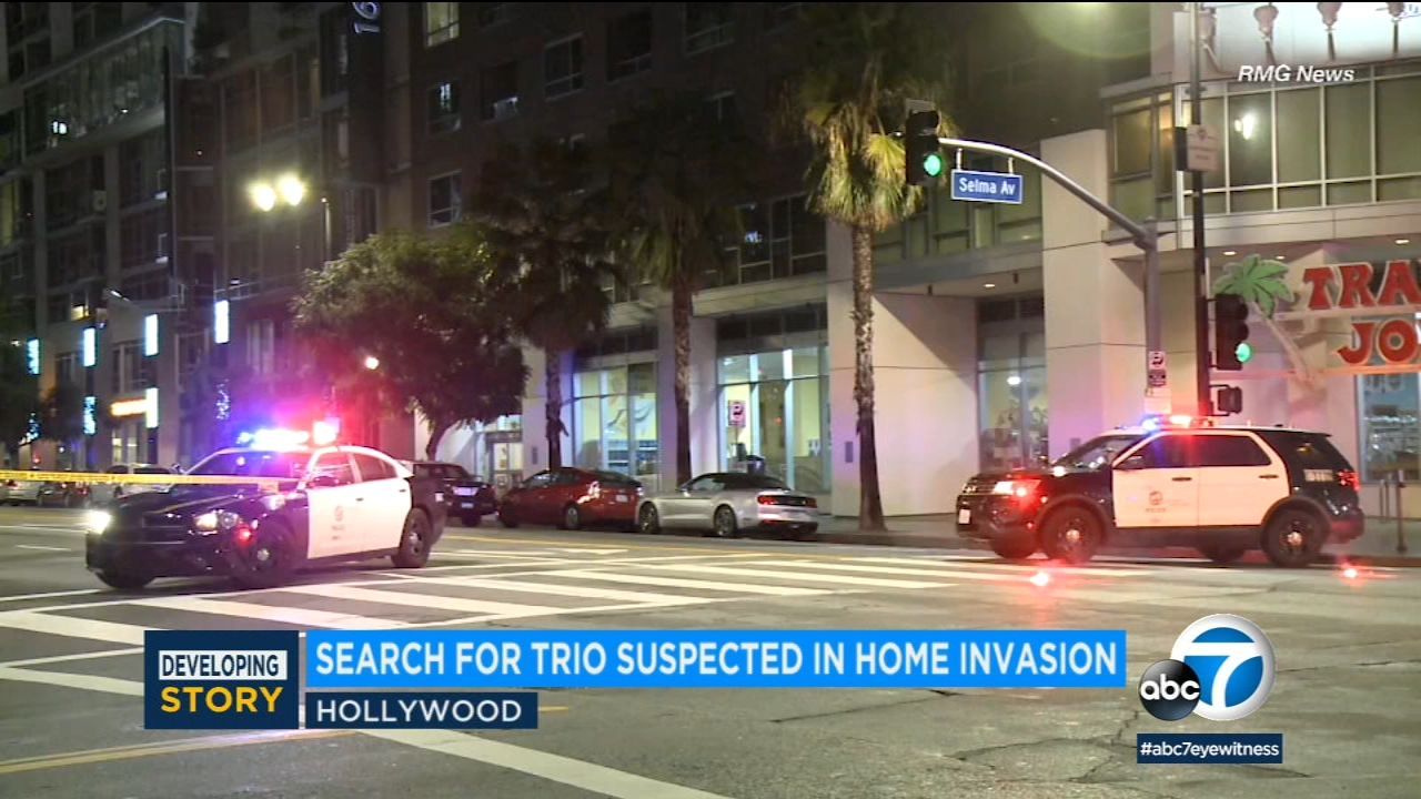 Los Angeles police are searching for three men connected to a home invasion in Hollywood.