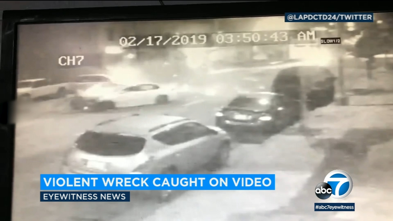 A chaotic crash was captured on video as a speeding car careened into multiple parked vehicles and sent a passenger flying 80 feet down the street.