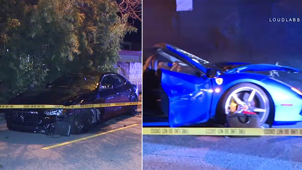 Two drivers escaped major injuries when a Ferrari and Maserati crashed head-on in the upscale neighborhood of Beverly Glen early Sunday.