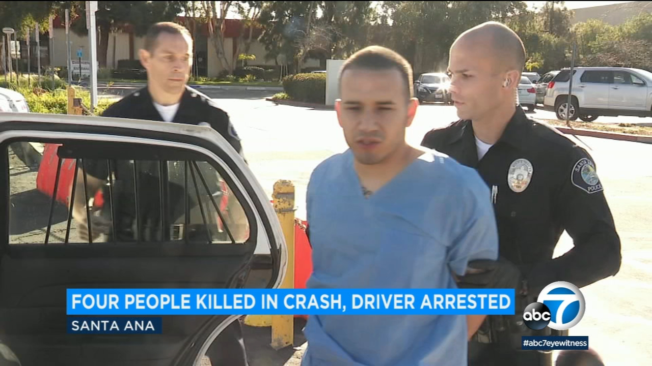 The victims who died in a two-vehicle crash in Santa Ana on Sunday have been identified as four Orange County residents in their 20s and 30s.