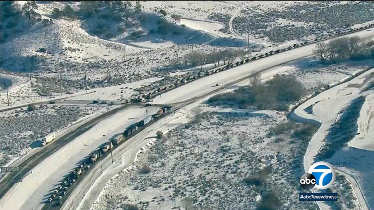 The 5 Freeway through the Grapevine halted all traffic on Sunday and Monday, Feb. 18, 2019, due to snow conditions on the road.