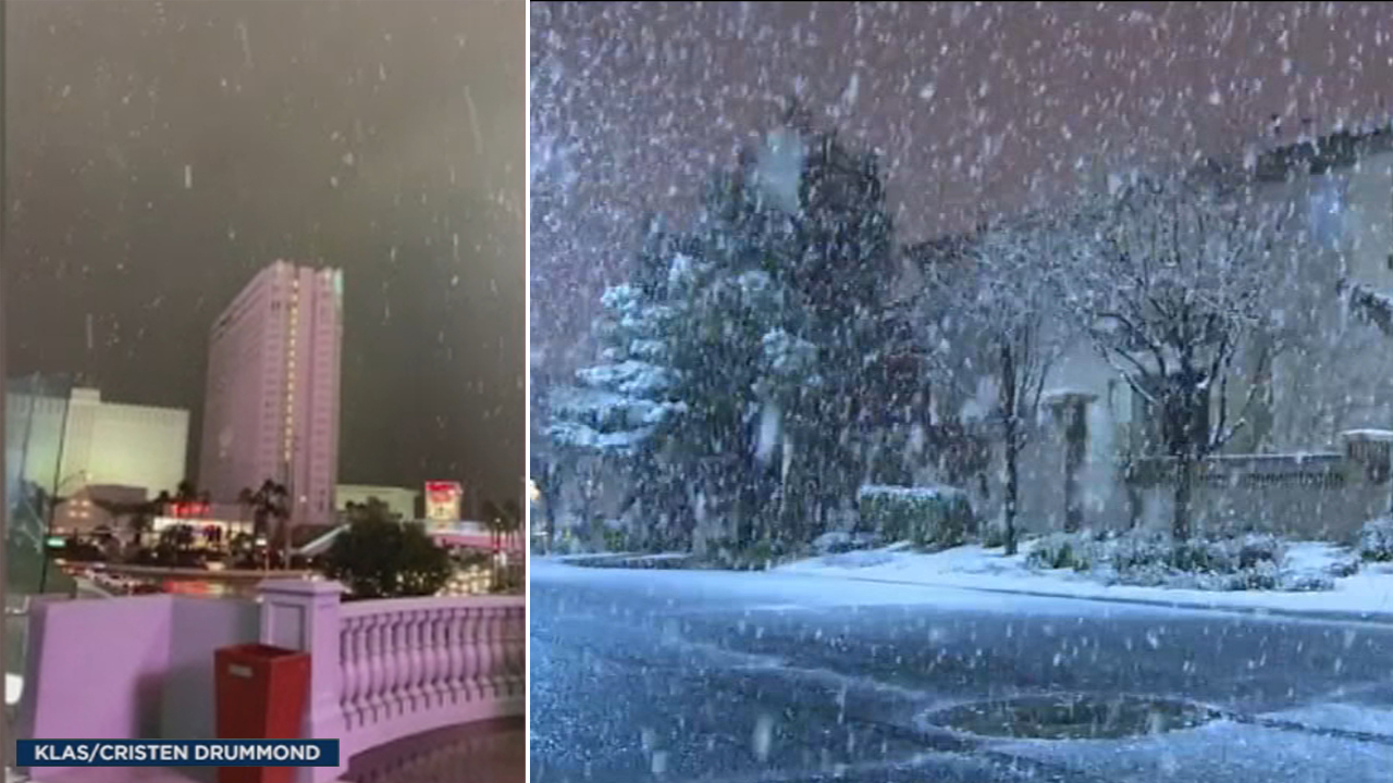 Snow is spotted in several parts of Las Vegas, including the Las Vegas strip.