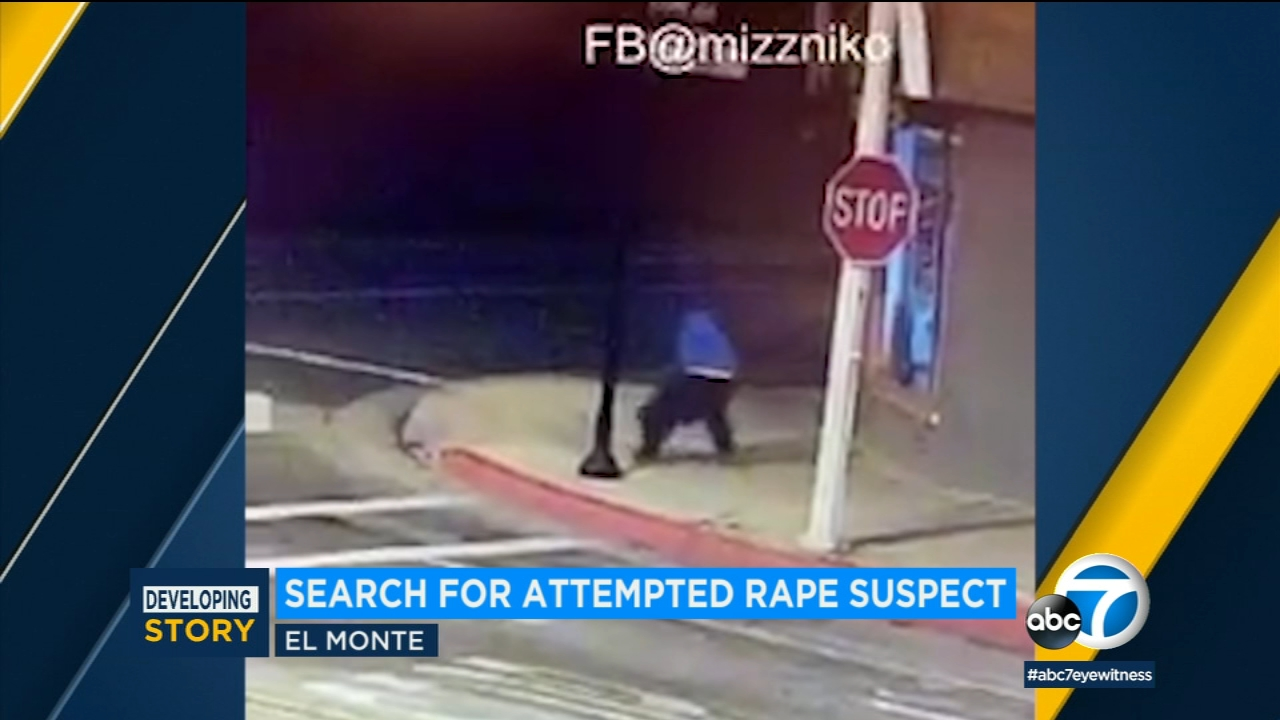 Home surveillance footage shows a man grabbing a woman on an El Monte street and attempting to drag her away.