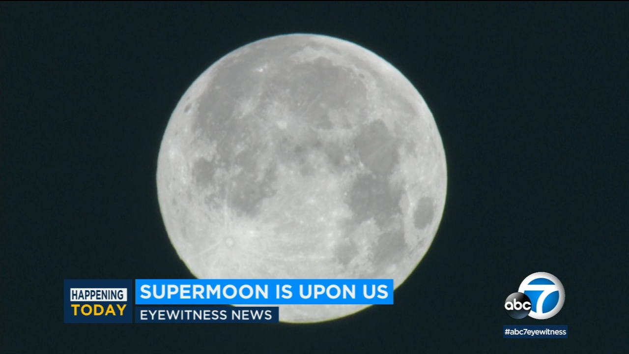 The spectacular snow moon lit up Southern California skies early Tuesday morning.