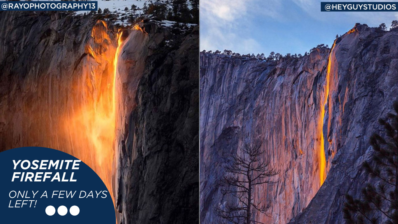 Yosemites famed firefall is seen in these photos.