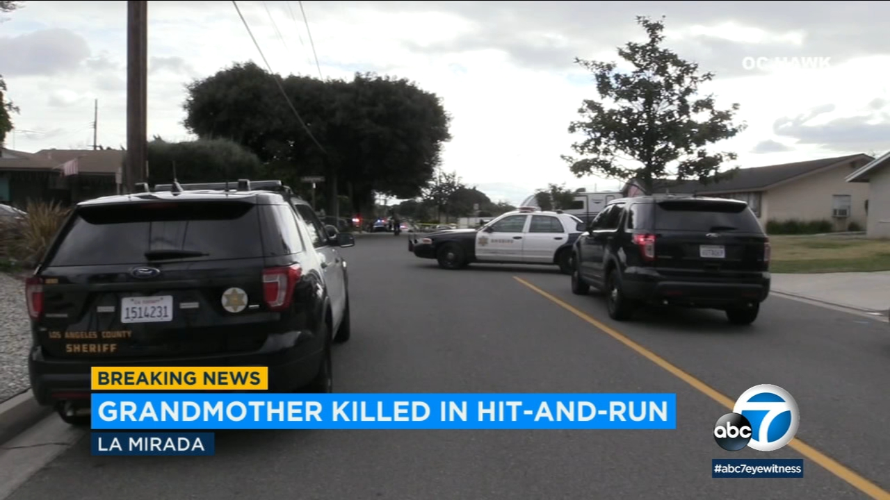 A hit-and-run driver killed a grandmother and injured two young children in La Mirada, authorities say.
