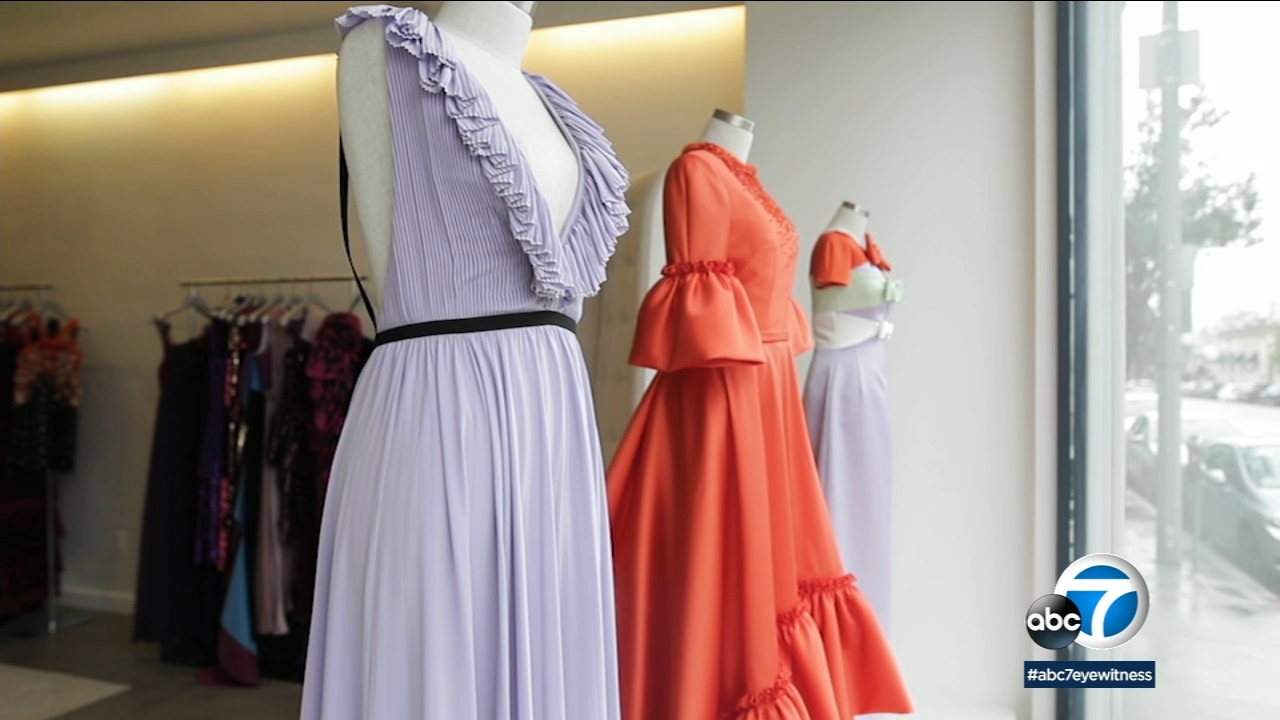 Sustainable dresses are displayed at a Los Angeles pop-up shop.