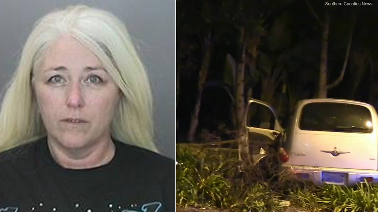 A split image shows 47-year-old La Mirada woman Stefanie Lyn Bieser after being arrested in a fatal pedestrian crash near Disneyland late Saturday, Feb. 9, 2019.