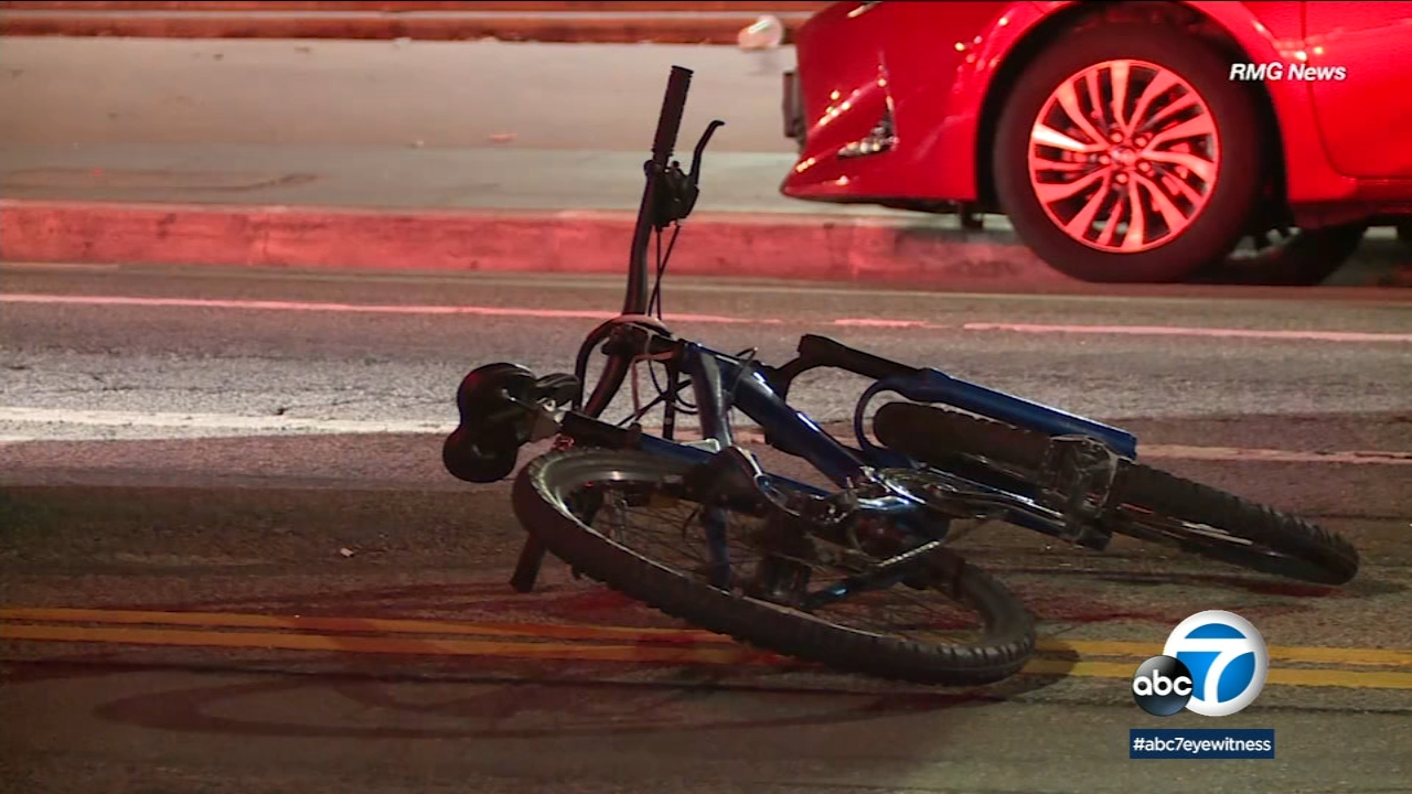 A bicycle is seen on the road following a fatal hit-and-run crash in Koreatown on Wednesday, Feb. 20, 2019.