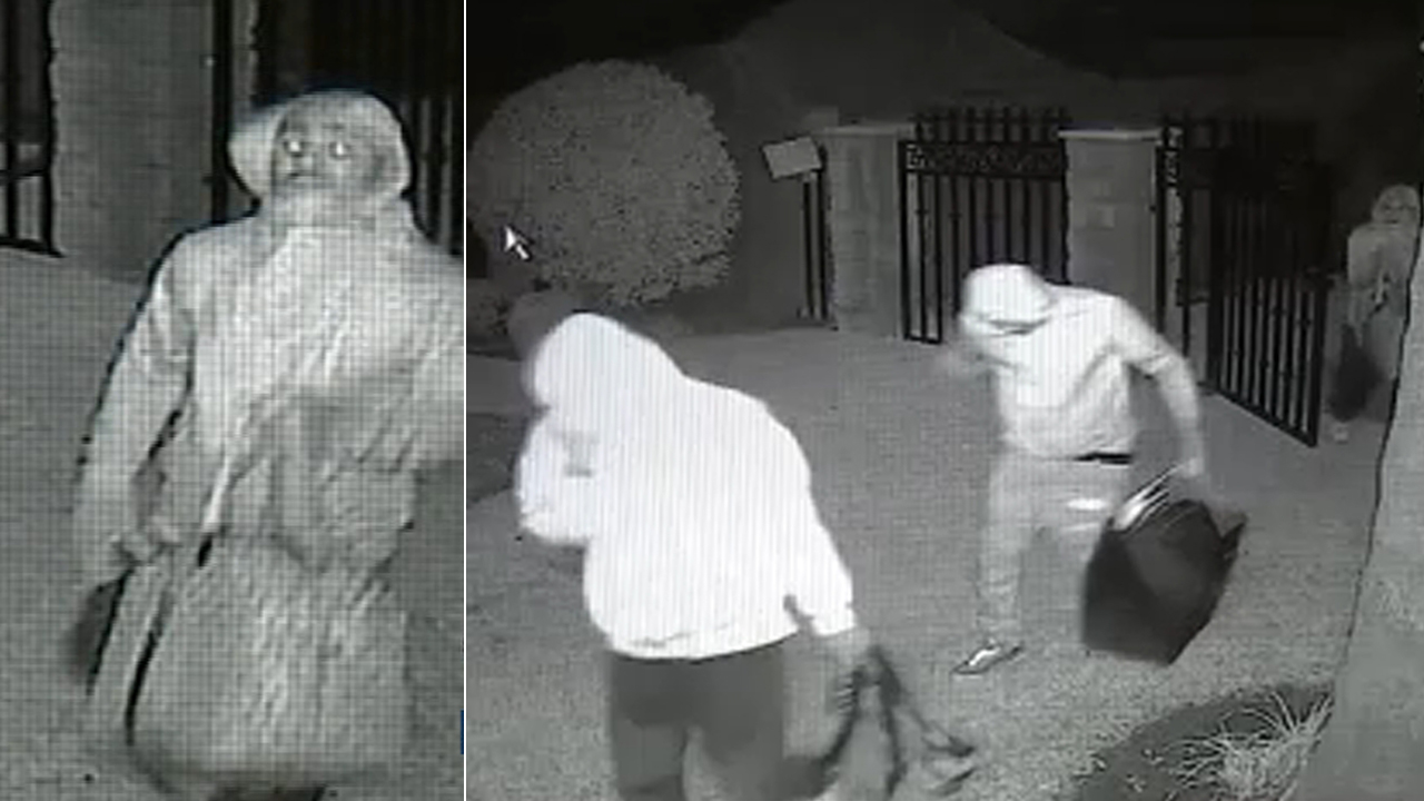 A trio of burglars were caught on camera breaking into a West Covina home while it was being fumigated