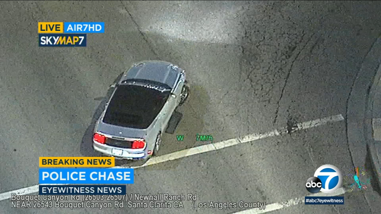 A suspect led authorities on a wild chase with shredded tires in the Santa Clarita area before surrendering to authorities on Thursday.