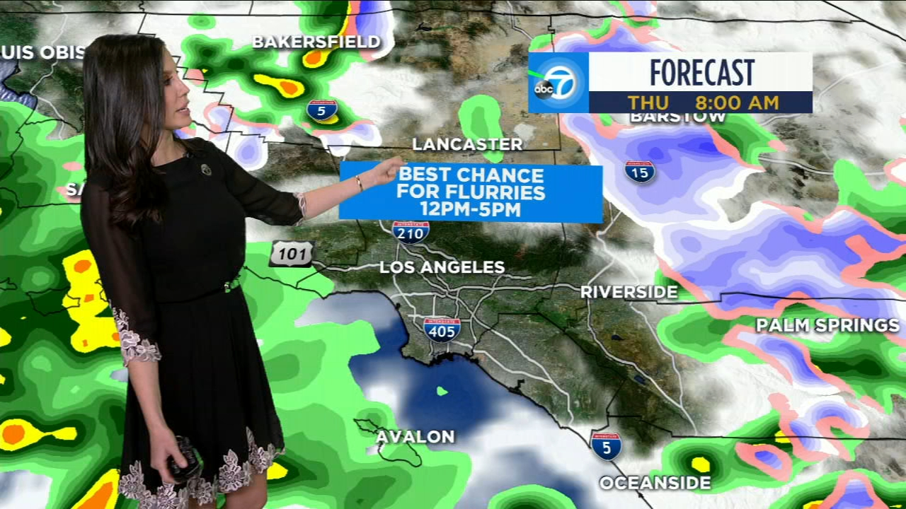 Leslie Lopez explains the dropping snow levels in Southern California on Thursday, Feb. 21, 2019.