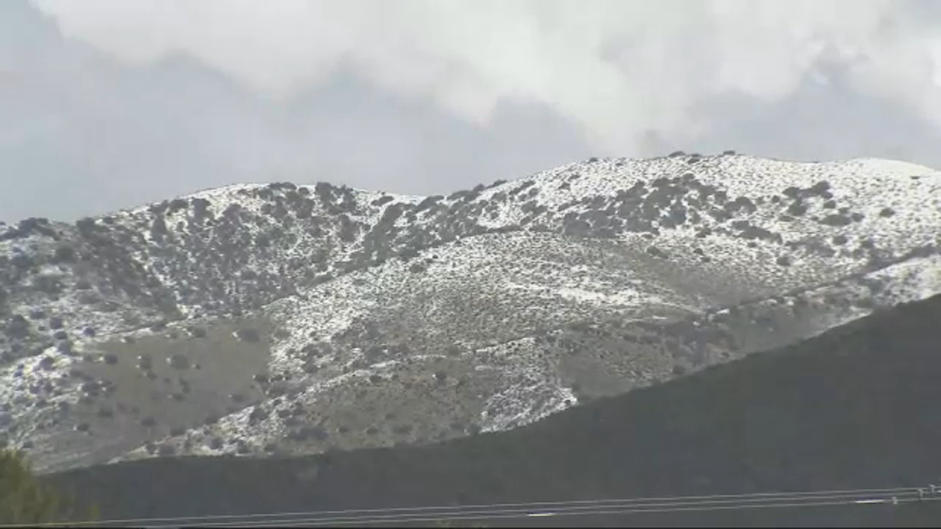 Mountains are covered in white snow in the Antelope Valley on Thursday, Feb. 21, 2019.