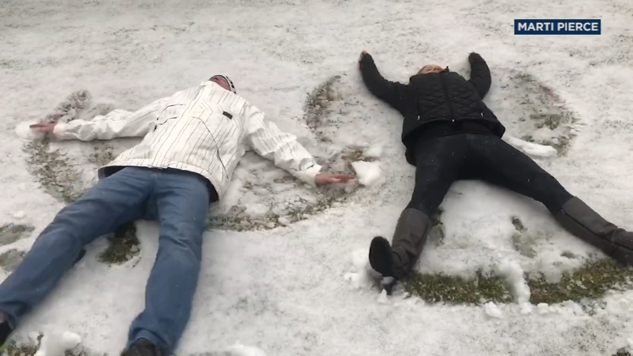 In Rancho Cucamonga, some enjoyed the rare weather by making snow angels.
