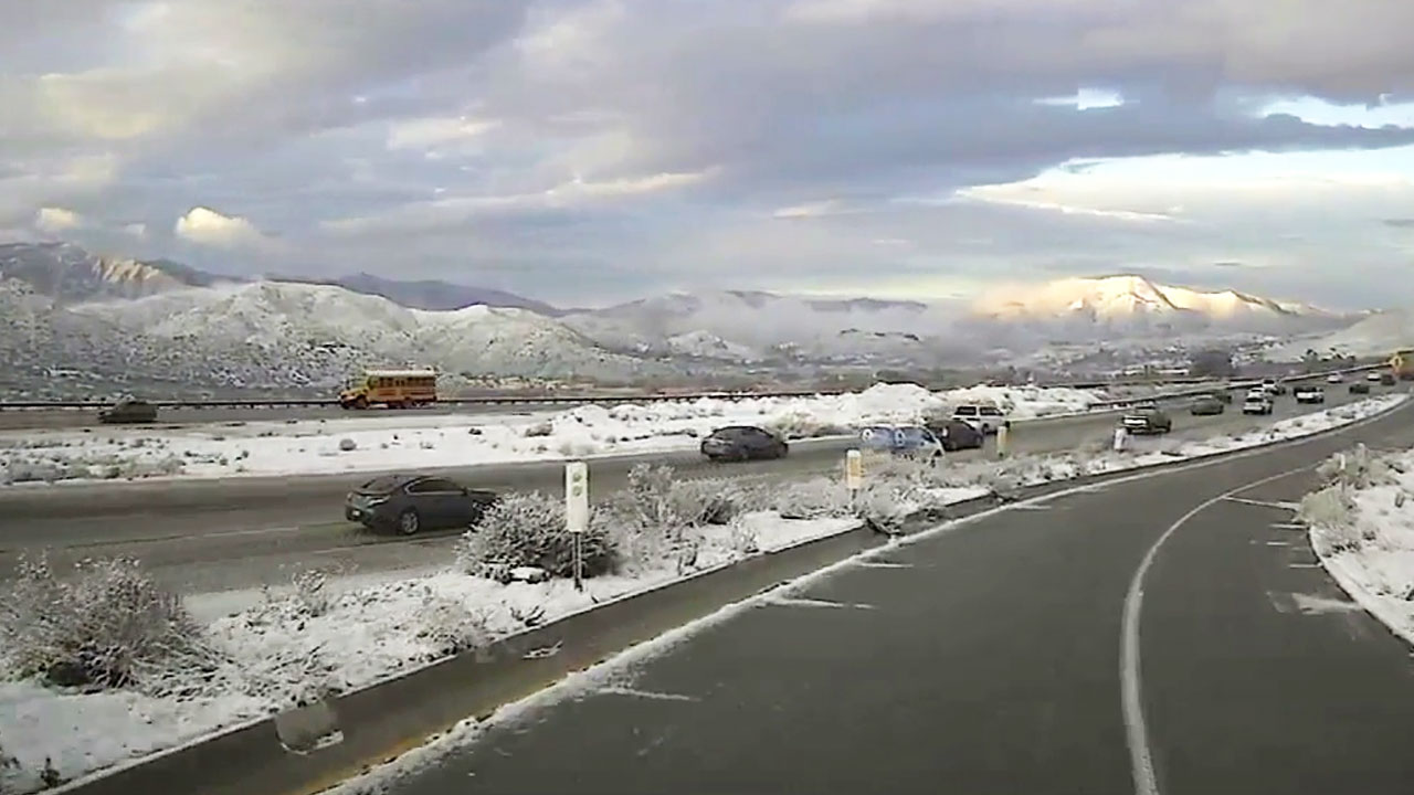 Snow along the 14 Freeway on Thursday, Feb. 21, 2019.