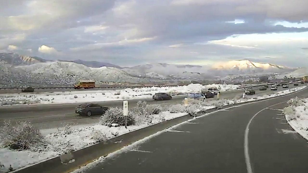 Snow along the 14 Freeway on Thursday, Feb. 21, 2019.