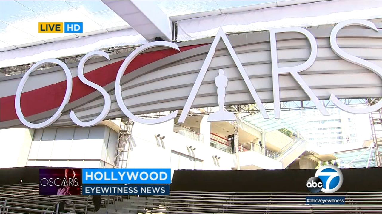 Crews are getting the red carpet ready on Hollywood Boulevard for Sundays Academy Awards telecast.