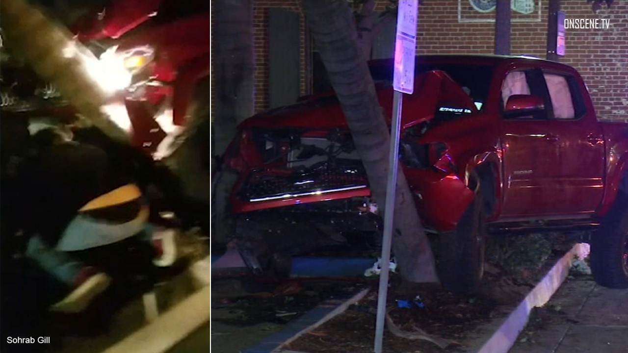 A split image shows people trying to rescue pedestrians from underneath a truck in Fullerton.