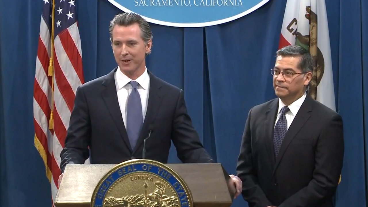Gov. Newsom and state Attorney General Becerra say they will sue Pres. Trump over his emergency declaration to fund a wall on the U.S.-Mexico border.