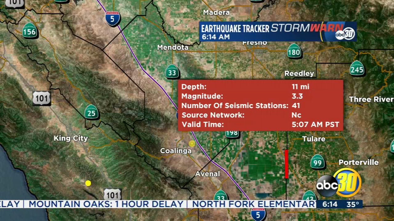 The US Geological Survey reported a 3.3-magnitude quake shaking up the area between Coalinga and Huron in the Valley.