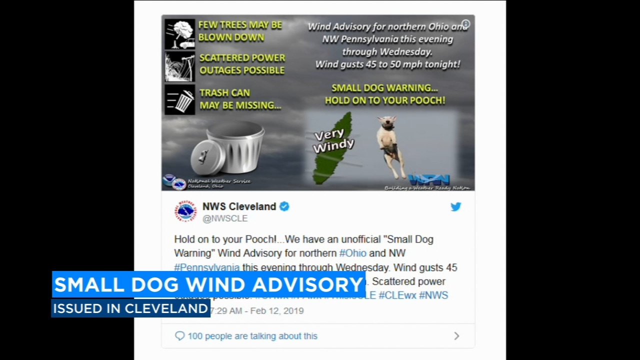 The National Weather Service in Cleveland is telling people to hold on to your pooch due to 50 mph winds.