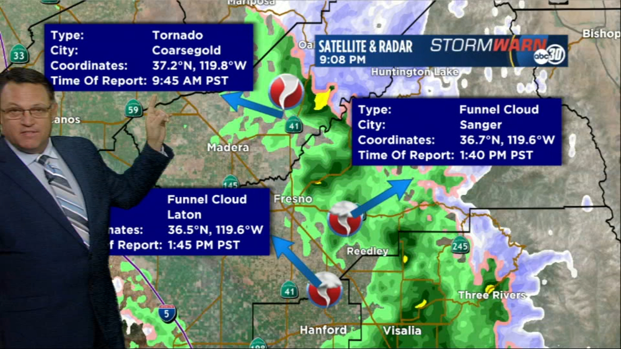 An EF0 tornado has been confirmed to have touched down near Coarsegold Friday morning, according to the National Weather Service in Hanford.