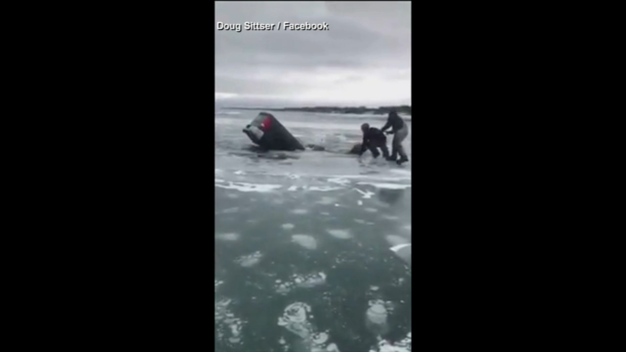 VIDEO: Man rescued after truck falls through ice