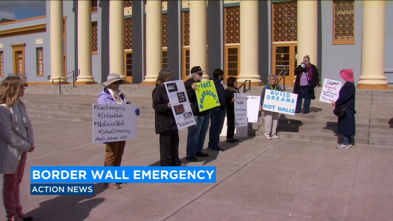 Protests erupt over President Trumps emergency declaration for border wall