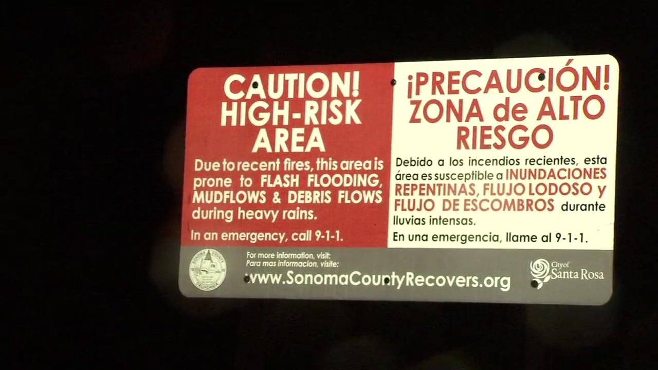 A sign warning of flash flooding risk is seen in Sonoma County on Tuesday, Feb. 12, 2019.