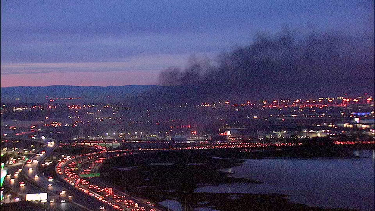 Fire burning in Oakland, California on Tuesday, February 12, 2019.