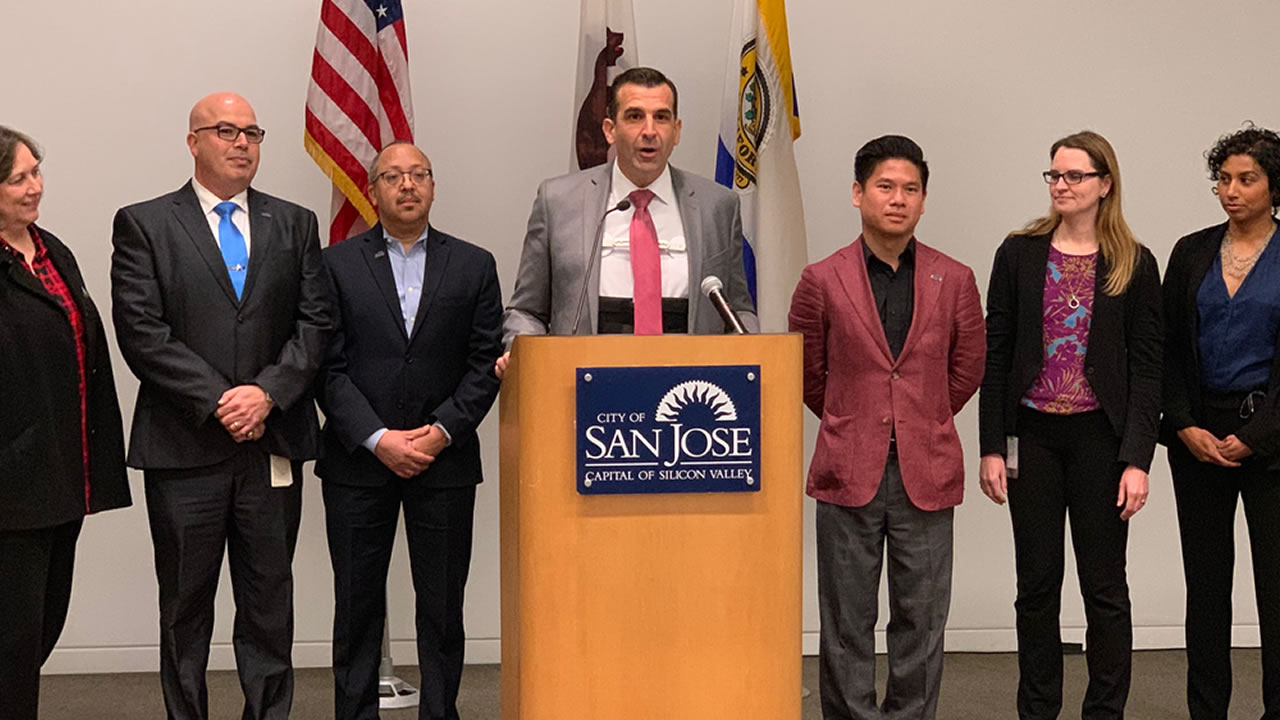 This image shows San Jose Mayor Sam Liccardo announcing the citys new Digital Inclusion Fund on Tuesday, Feb. 12, 2019.