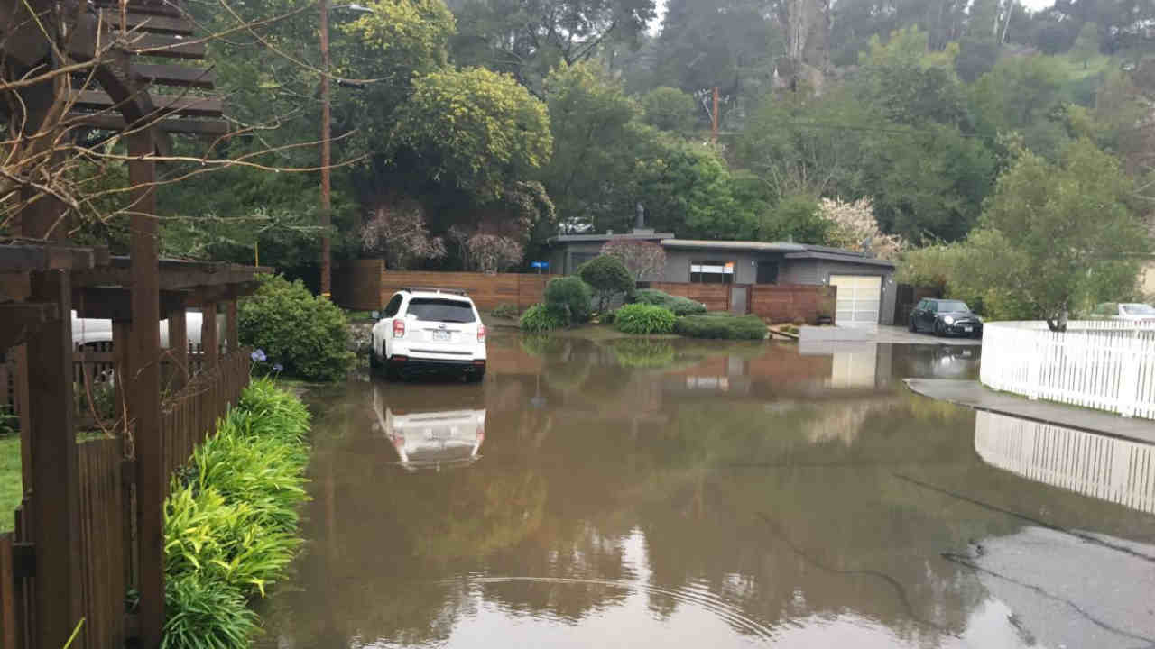 Flooding is seen in a Marin County neighborhood on Wednesday, Feb. 13, 2019.
